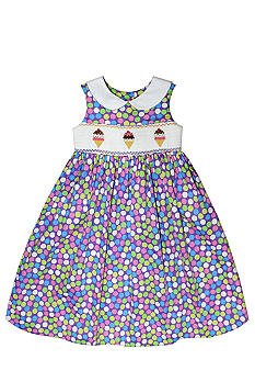 Marmellata Ice Cream Cone Smocked Dress Girls 4-6X