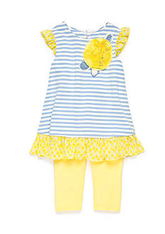 Marmellata 2-Piece Stripe Tunic and Capri Set Girls 4-6x