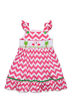 Marmellata Flamingo Smocked Chevron Dress Girls 4-6x