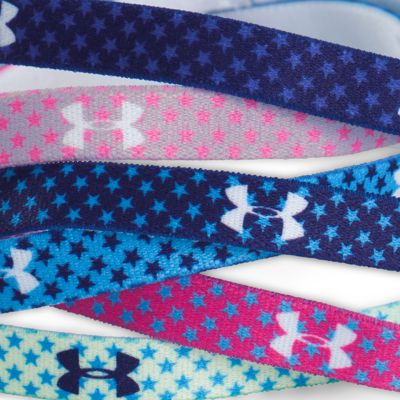 Kids Under Armour®: Cloud Gray/Rebel Pink Under Armour Graphic Words Headband Girls 7-16