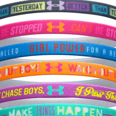 Kids Under Armour®: Lead/Exotic Bloom/Snorkel Under Armour Graphic Words Headband Girls 7-16