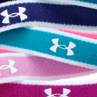 Girls 7-16 Size Activewear: Strobe/Bold Aqua/White Under Armour Mini Headbands Girls 7-16