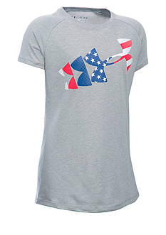 Under Armour USA Flag Logo Tee Girls 7-16