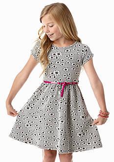 kc parker® Floral Knit Belted Dress Girls 7-16
