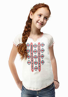 Lucky Brand Maelynn Embroidered Peasant Top Girls 7-16