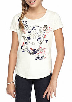 Lucky Brand Sketchy Leopard Printed Top Girls 7-16