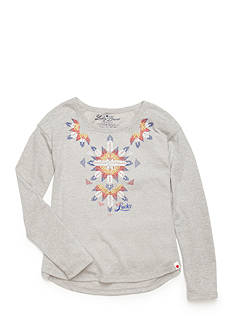 Lucky Brand Tribal Embroidered Top Girls 4-6x