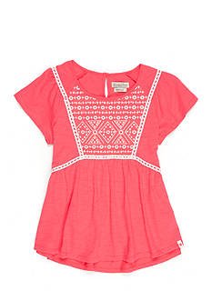 Lucky Brand Geo Embroidered Peasant Top Girls 4-6x