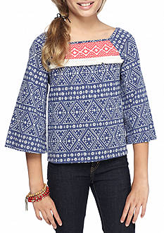 Lucky Brand Flowy Yoke Top Girls 7-16
