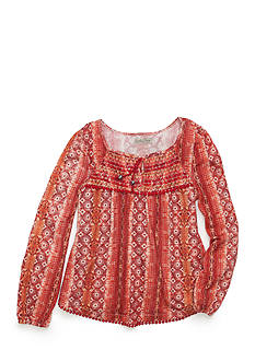 Lucky Brand Printed Knit Top with Smocking Girls 7-16