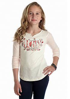 Lucky Brand Watercolor Logo Tee Girls 7-16