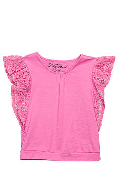 Lucky Brand Crochet Sleeve Top Girls 4-6X