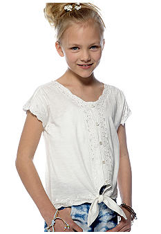 Lucky Brand Tie Front Peasant Shirt Girls 7-16