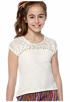 Lucky Brand White Bead Trim Top Girls 7-16