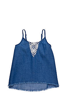Lucky Brand Crochet Denim Tank Girls 4-6x