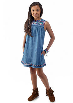 Lucky Brand Embroidered Chambray Dress Girls 7-16