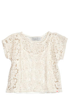 Lucky Brand Crochet Lace Top with Jersey Tank Girls 4-6X