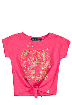 Lucky Brand Elephant Cross Tie Tee Girls 4-6X