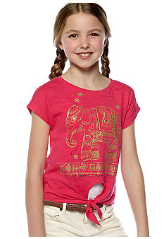Lucky Brand Elephant Cross Tie Tee Girls 7-16