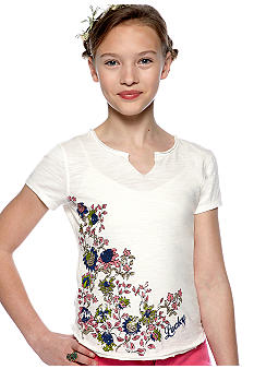 Lucky Brand Floral V-Neck Tee Girls 7-16