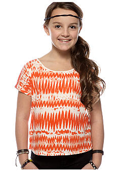 Lucky Brand Tie Dye Lace Back Top Girls 7-16
