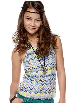 Lucky Brand Zig Zag Print Knit Top Girls 7-16