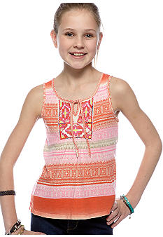 Lucky Brand Striped Embroidered Tank Girls 7-16