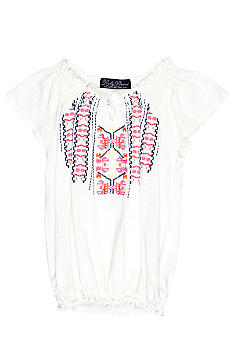 Lucky Brand Embroidered Peasant Top Girls 4-6x