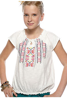 Lucky Brand Embroidered Peasant Top Girls 7-16