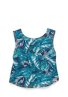 Lucky Brand Palm Print Tulip Back Tank Top Girls 7-16