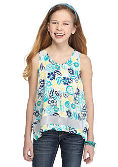 Lucky Brand Floral Print Handkerchief Tank Top Girls 7-16