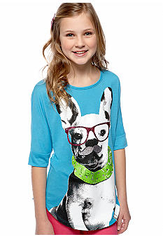 Red Camel Girls Dog Mustache Screen Tee Girls 7-16