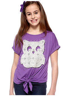Red Camel Girls Tie Front Owl Tee Girls 7-16