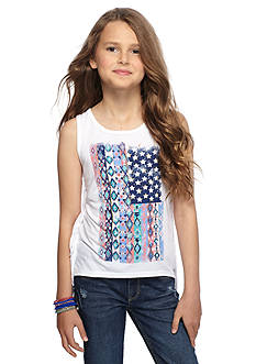 Red Camel Tribal Printed Flag Fringe Tank Top Girls 7-16