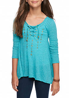 Red Camel Lace Up Studded Top Girls 7-16