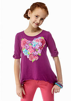 Red Camel Girls® Floral Heart Sharkbite Tee Girls 7-16