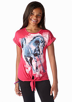 Red Camel Girls® Running Horse Tie Front Tee Girls 7-16