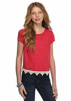 Red Camel Short Sleeve Crochet Hem Hanky Top Girls 7-16