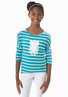Red Camel Girls® Owl Crochet and Stripe Tee Girls 7-16