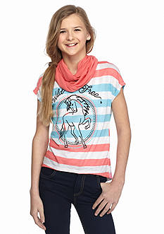 J Khaki™ 2-Piece 'Wild & Free' Stripe Top with Scarf Girls 7-16