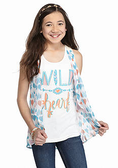 J Khaki™ 2-Piece 'Wild Heart' Tank Top and Sheer Printed Cozy Girls 7-16