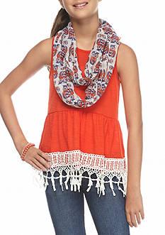 J. Khaki Orange Tank Bottom Lace Owl Scarf Top Girls 7-16