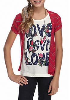 J. Khaki Love Tank Top with Cardigan 2-Piece Set with Necklace Girls 7-16