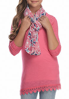 J. Khaki Knit Top and Scarf Girls 7-16