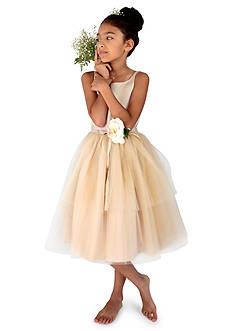 Us Angels Flower Girl Satin And Tulle Ballerina Dress With Flower- Girls 7-16