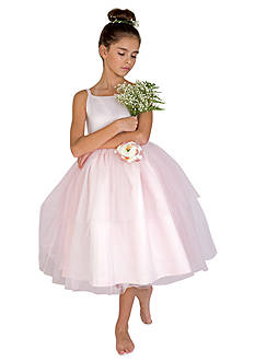 Us Angels Flower Girl Satin And Tulle Ballerina Dress With Flower- Girls 7-16