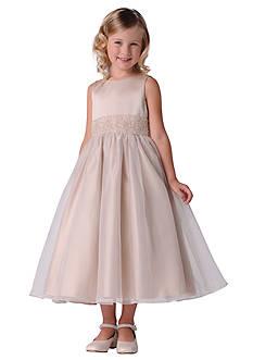 Us Angels Flower Girl Beaded Sash Organza Dress- Girls 7-16