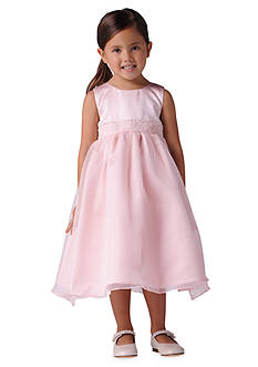 Us Angels Flower Girl Beaded Sash Organza Dress- Girls 7-16