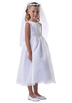Us Angels Satin And Organza Sleeveless Communion Dress With Beaded Cummerbund and Organza Tie Back Bow- Girls 7-16