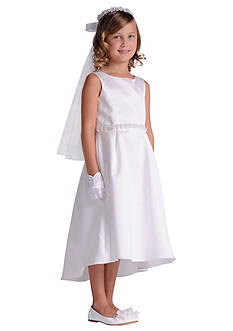 Us Angels Organza Sleeveless A-Line Communion Dress With Beaded Trim Hi-Lo Hemline- Girls 7-16